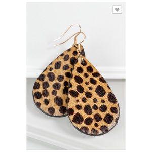Leopard Genuine Leather Teardrop Earrings